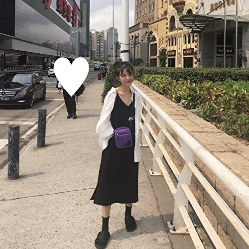 V Robe Robes Han Barre Couleur l't Jupe Noire S Oblique MiGMV de Jupe de Longue Pure Black l'lingue BWAI45q
