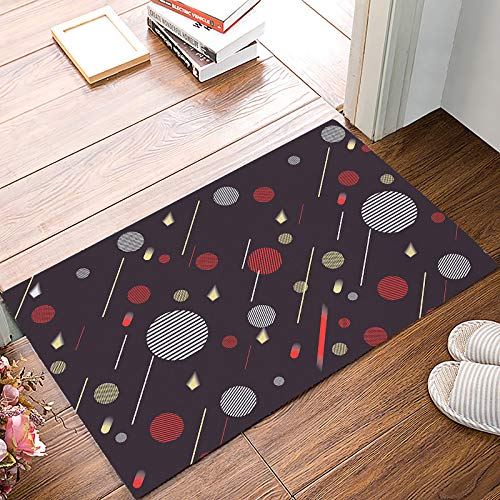 (MuswannaA Decor Door Mat Geometric Theme Non-Slip Easy Clean Entrance Doormat Striped Circle Shape Shooting Star Rug for Indoor/Outdoor Entry Way - 20 x 32 Inches)