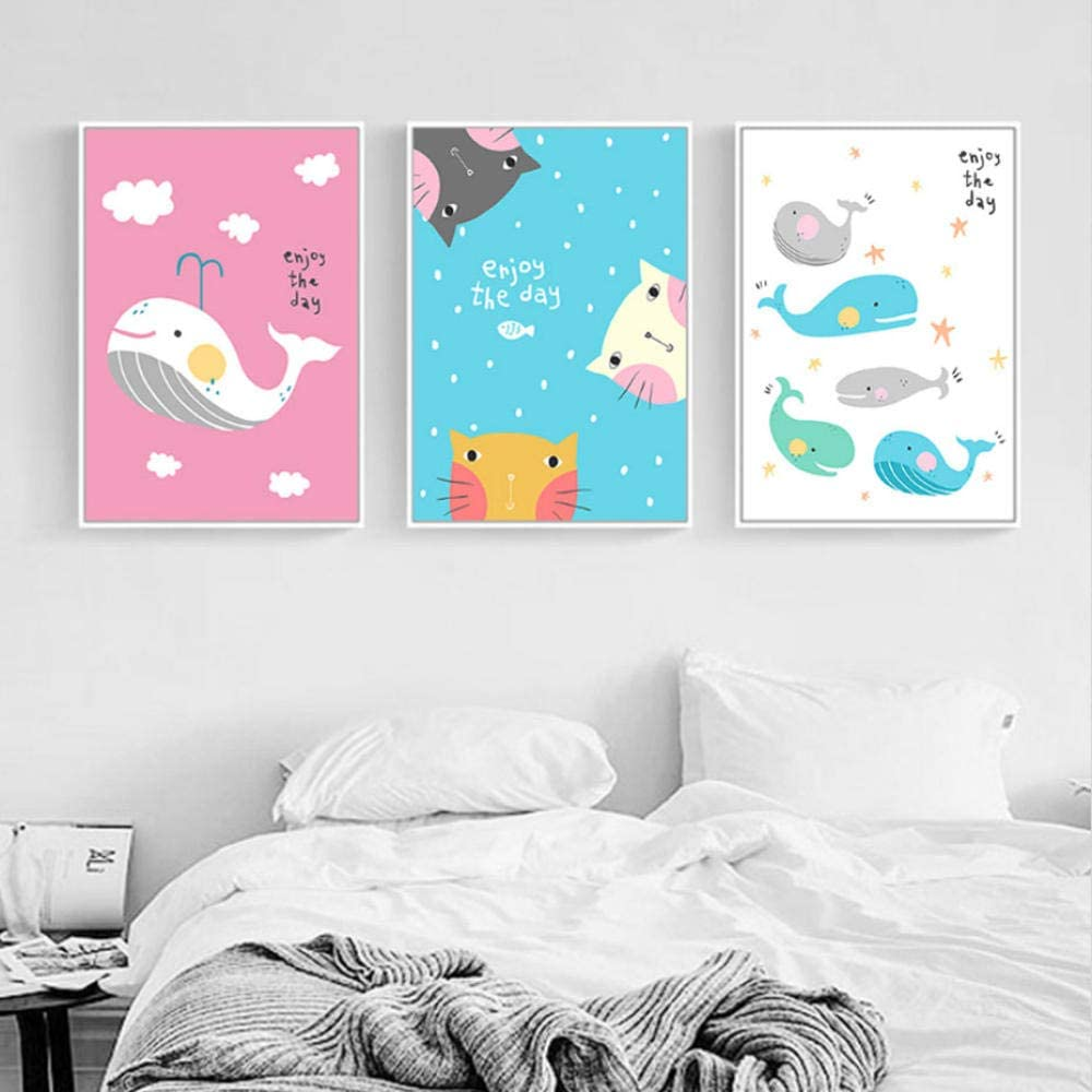 Fashion Cartoon Animal Canvas Poster Nordic Art Painting Kids/' Room Home Decor
