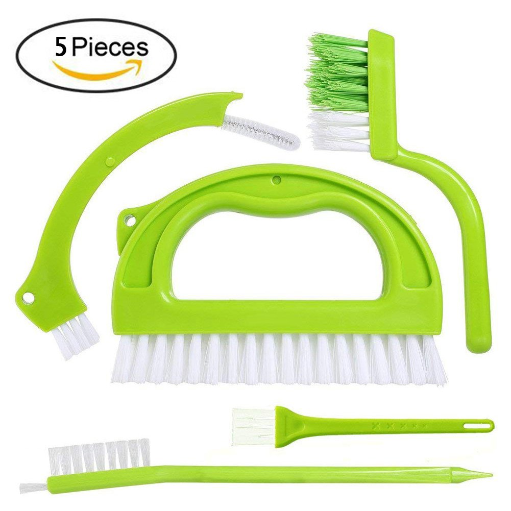 HEMCER Profi Multifunktionale Universal 3 in 1 Kü che Badezimmer und Haushalt Grout Pinsel, Tile Pinsel Scrubber Brush Reinigungsbü rste - Grü n (5 Brush Included)