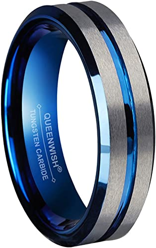 King Will Loop 6mm//8mm Blue Tungsten Carbide Ring Wedding Band High Polished Comfort Fit