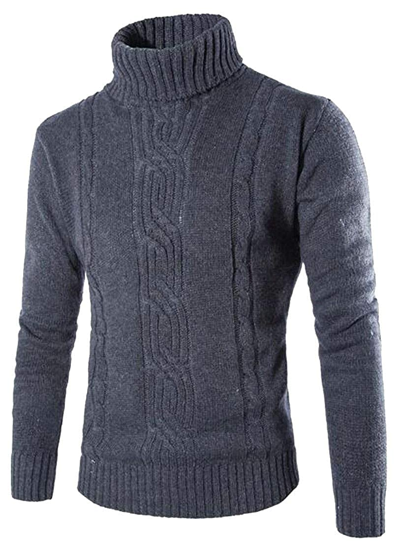 Sweatwater Mens Knitted Pure Color Turtleneck Trendy Pullover Jumper Sweaters