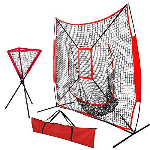 - Nova Microdermabrasion 7' x 7' Baseball Softball Practice Net Hitting Pitching Training Net w/Strike Zone,Bow Frame & Carry Bag, Ball Caddy