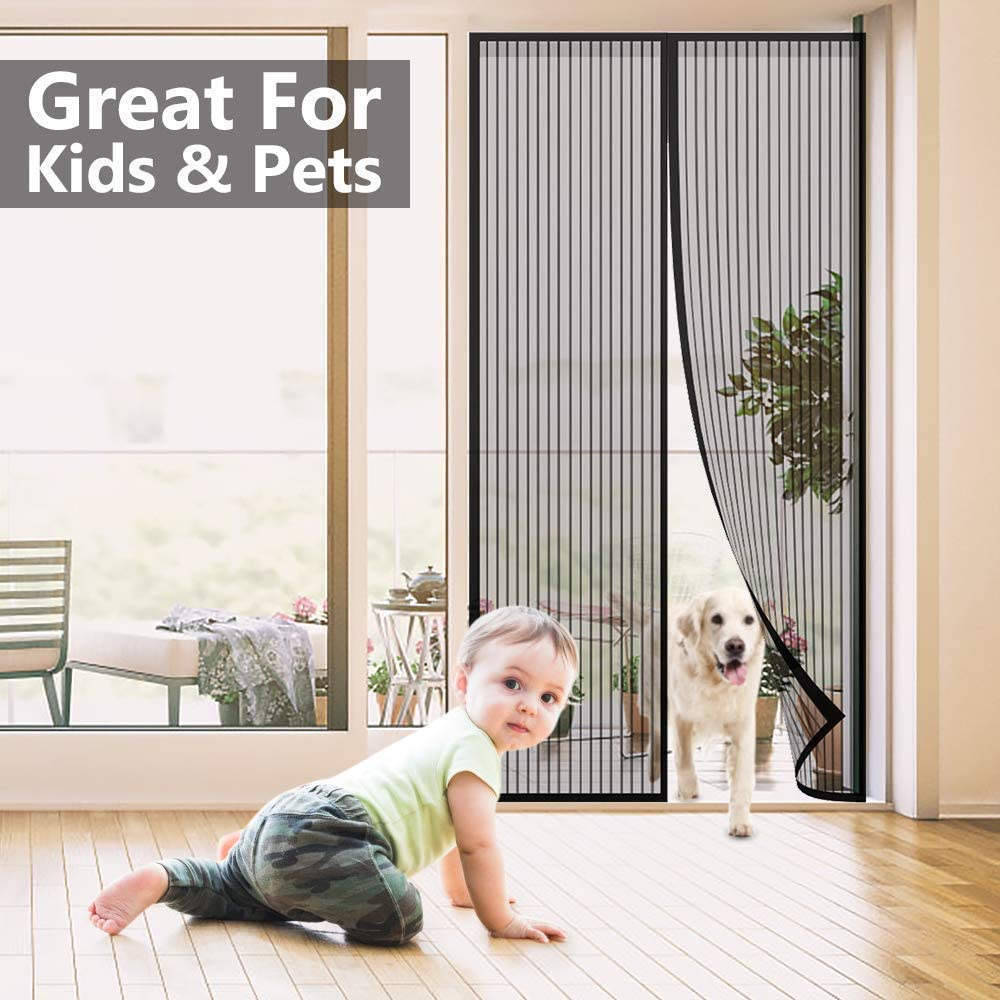 Black Stripe Magic Net,150x210cm Magnetic Automatic Closing Anti-Mosquito Curtain To Prevent Mosquitoes From Entering JBP max Flying Insect Screen Door
