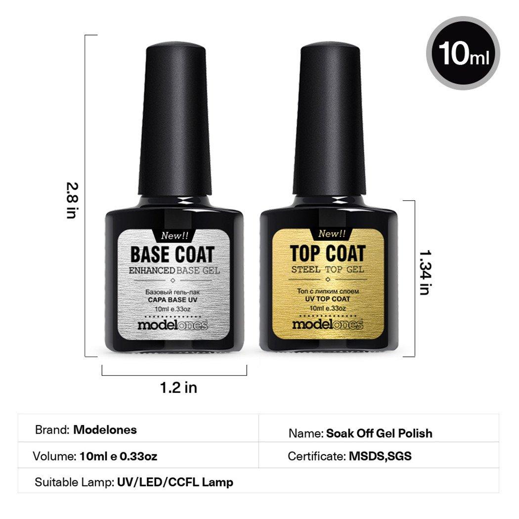 Amazon.com : Modelones Top Coat and Base Coat for Gel Nail Polish UV ...