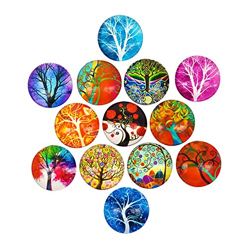 HYSH 13pcs Abstract Tree Refrigerator Beautiful Fridge Magnets Photo Decorative Glass Funny Office Cabinets Whiteboards Best Housewarming Gift (Twilight tree13) ()