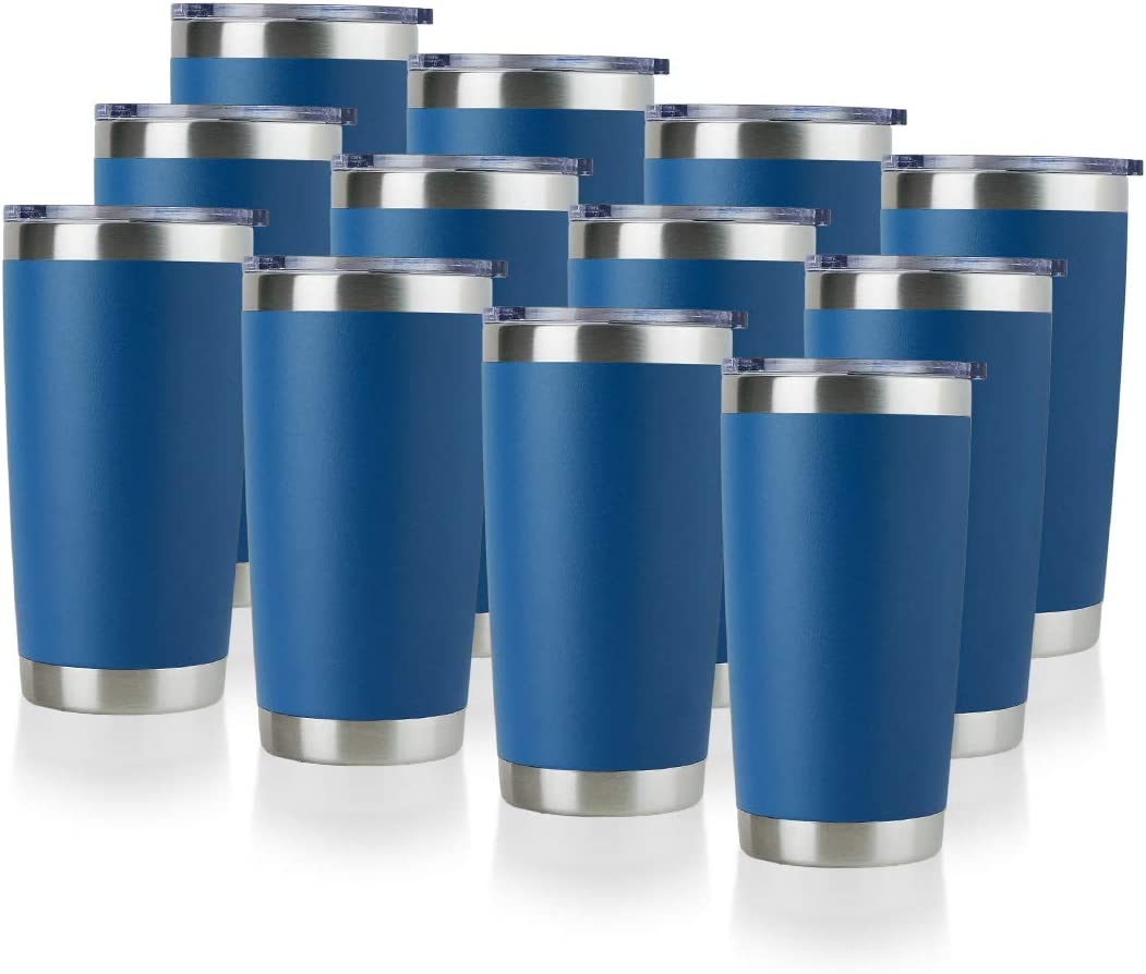 DOMICARE 20oz Stainless Steel Tumbler with Lid, Double Wall Vacuum Insulated Travel Mug, Powder Coated Coffee Cup, Dark blue, 12 Pack