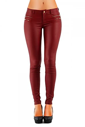 b9b4a85acb66 Damen Jeans Hose Hüfthose Lederimitat Kunstlederhose Skinny (No 323),  Grösse 36