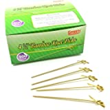 "Gmark Bamboo Knot Skewers 4.5"" 300 ct, Bamboo Knot Picks, Twisted Ends Bamboo Picks Cocktail Picks Box GM1006"