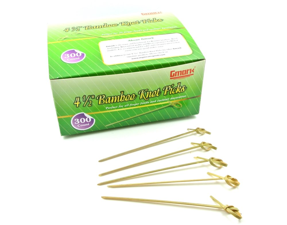 Gmark Bamboo Knot Skewers 4.5'' 300 ct, Eco-Friendly Bamboo Knot Picks, Twisted Ends Bamboo Picks Cocktail Picks Box GM1006