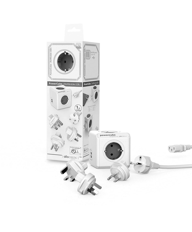 allocacoc PowerCube DuoUSB ReWirable GRIS Travel Plugs + Cable, Ladró n multiple de viaje con 5 enchufes/tomas de corriente y 2 enchufes de USB (2.1 A) en forma de cubo 1811GY/DERU3P