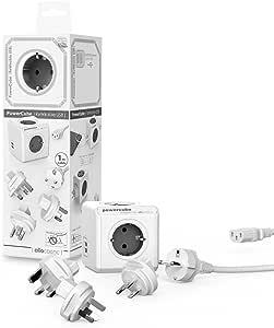 allocacoc PowerCube DuoUSB ReWirable GRIS Travel Plugs + Cable, Ladrón multiple de viaje con 5 enchufes/tomas de corriente y 2 enchufes de USB (2.1 A) en forma de cubo