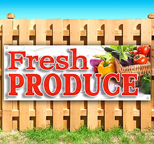 Fresh Produce 13 oz Heavy Duty Vinyl Banner Sign with Metal Grommets, New, Store, Advertising, Flag, (Many Sizes Available) by Tampa Printing