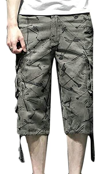 ca1611d2c2a Lutratocro Mens Plus Size Print Straight Leg Multi-Pocket Capri Cargo  Shorts Army Green 29