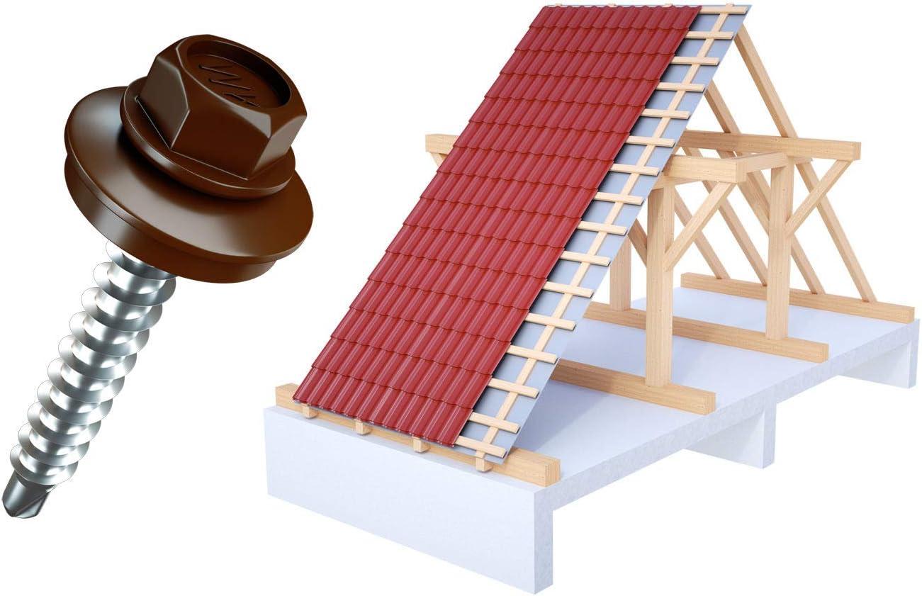 200 Trapezblech Schrauben Trapezbleche Profilbleche 4,8x55 Fassadenbauschrauben RAL 6005 moosgr/ün