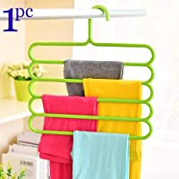 INOVERA (LABEL) 5 Layer Pants Clothes Hanger Wardrobe Storage Organiser Rack (Set of 4), 32l x 1b x 33h cm (Assorted Colour)