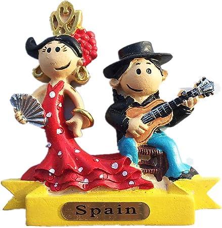 Imán de nevera 3D con diseño de bailarina de flamenco de España, regalo de recuerdo de viaje, decoración para el hogar y la cocina etiqueta magnética España colección de imanes para nevera: