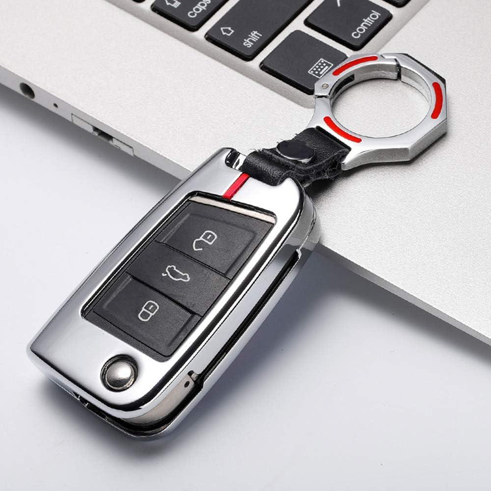 Ontto Klapp Autoschlüssel Hülle Abdeckung Schlüssel Tasche Für Volkswagen Vw Golf 7 Mk7 Polo Jetta Seat Skoda 3 Tasten Metall Zink Legierung Schlüsselschutz Keyless Mit Schlüsselanhänger Siber Rot B Auto