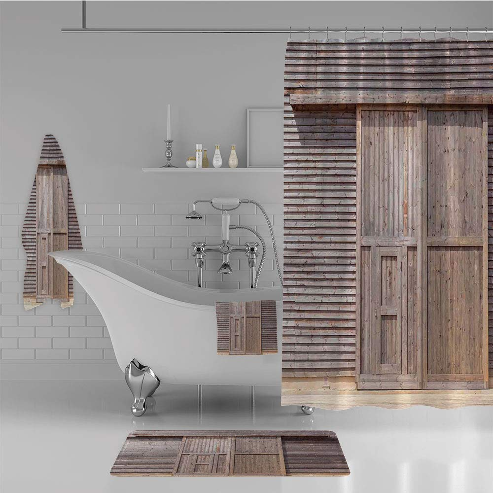 iPrint Bathroom 4 Piece Set Shower Curtain Floor mat Bath Towel 3D Print,Oak Barn Door Farmhouse Countryside Rural House,Fashion Personality Customization adds Color to Your Bathroom.
