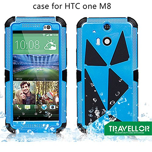 Travellor(TM) New Metal htc one m8 Shockproof Dirtproof Scratchproof Protection Case Cover for HTC ONE M8 Gifts Outdoor Carabiner + Professional Lens Wipes+Screen Dedusting Chain(Travellor Brand)multiple Color (Metal blue)