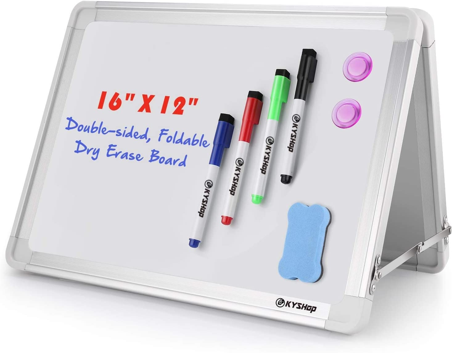 "Small Dry Erase White Board, Folded Double Sided Magnetic Tabletop Easel Mini Whiteboard for Kids, Office, 16"" X 12"", Includes 1 Magnetic Eraser, 4 Markers, 2 Magnets …"