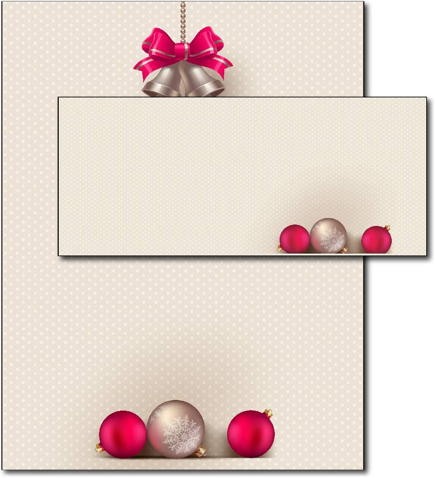 Bells & Bulbs Holiday Paper & Envelopes (40 Set Pack)