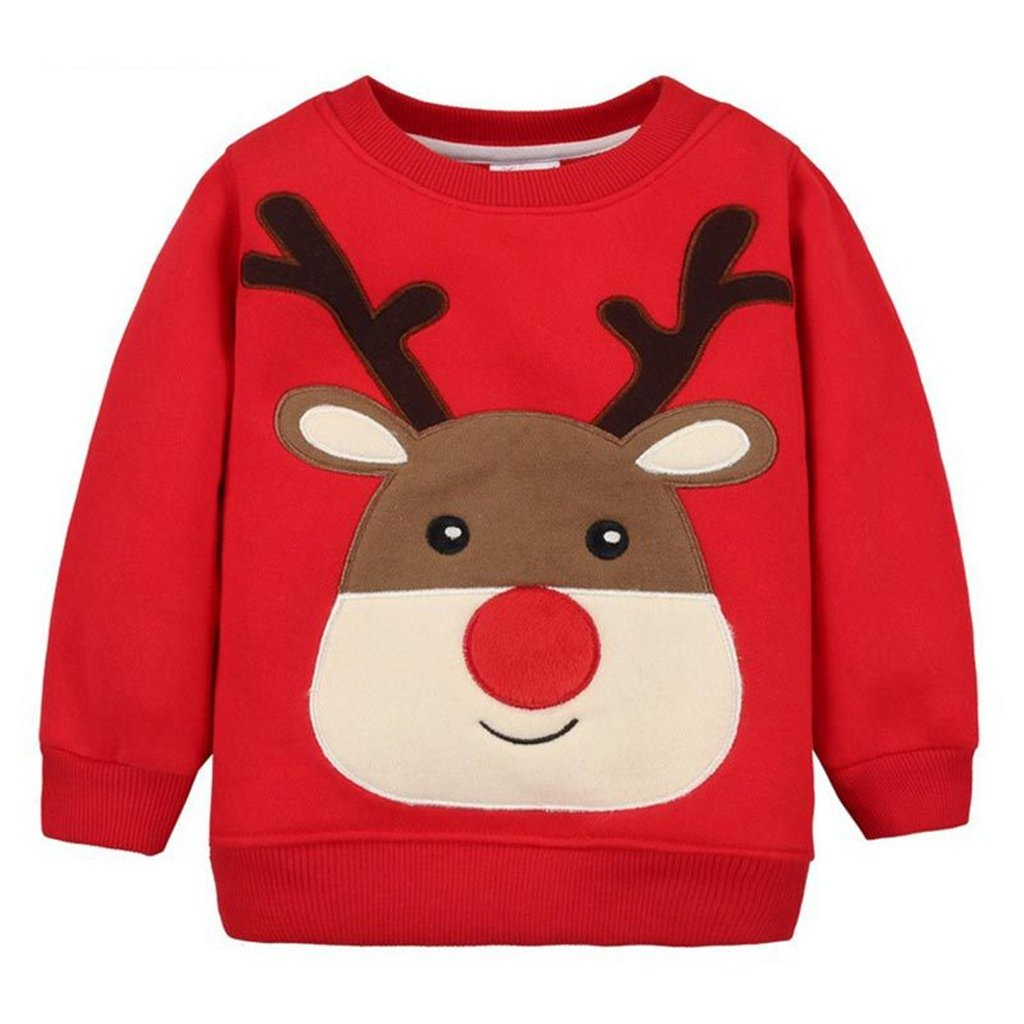 Sudaderas para Navidad Niños Camisetas de Manga Larga Pull-over Bebé Lana Sweatshirt Casual Ropa de Navidad C170727WY001D