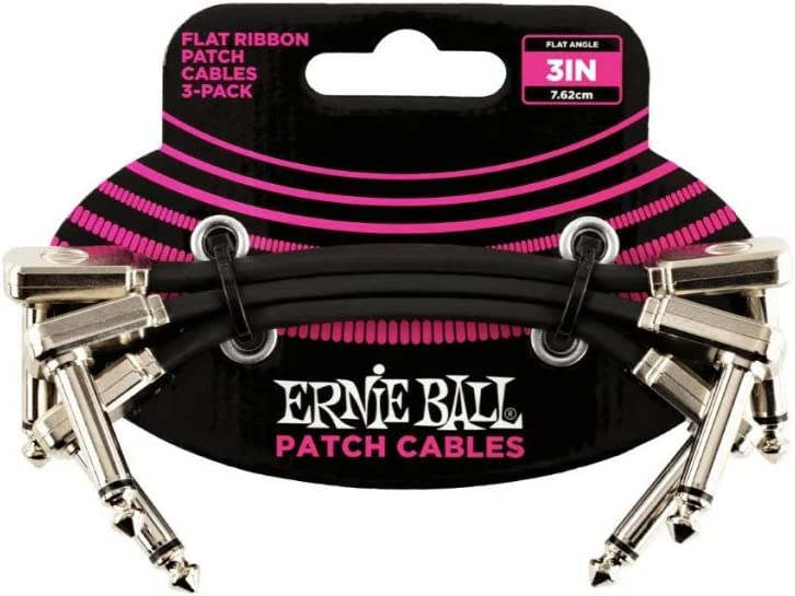 """Ernie Ball 3"""" Flat Ribbon Patch Cable 3-Pack"""