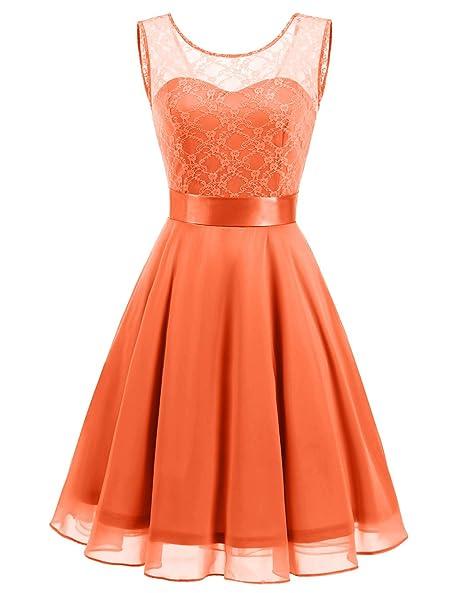Review BeryLove Women's Short Floral Lace Bridesmaid Dress A-line Swing Party Dress