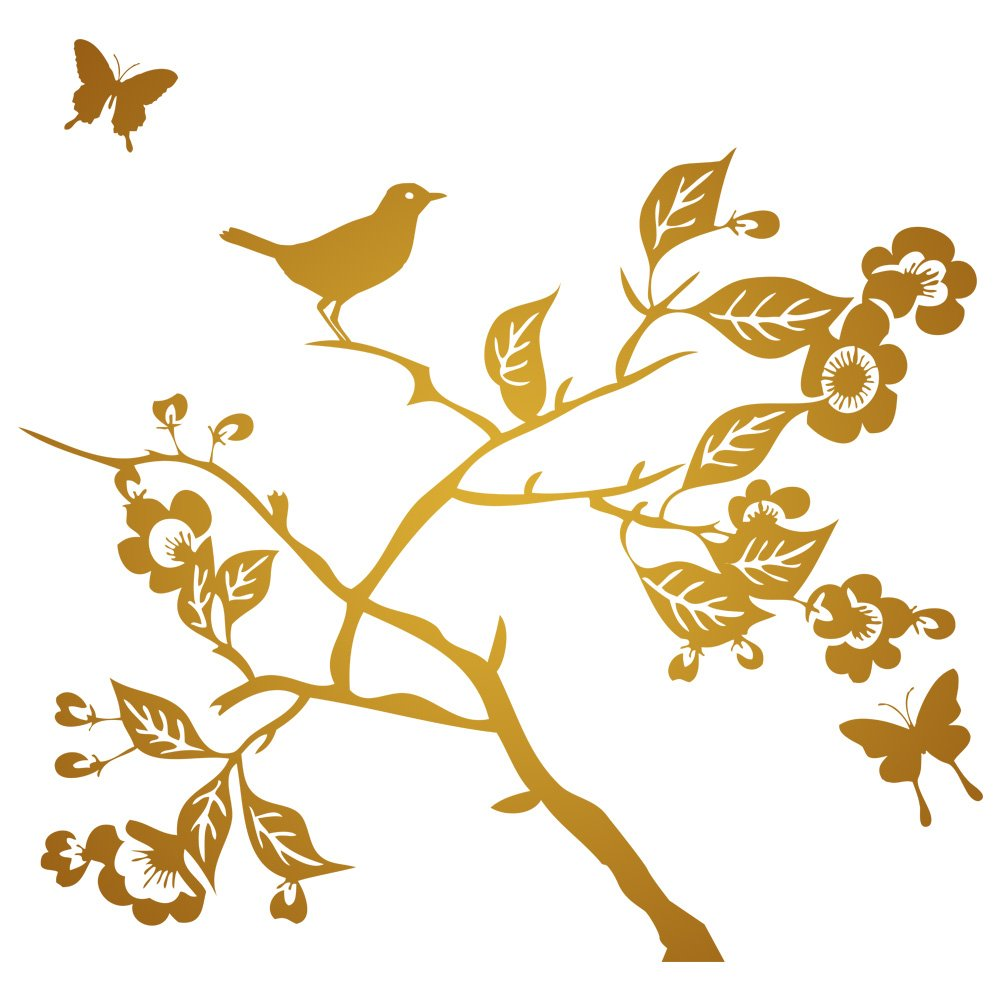 Branch with Leaves Flowers Birds & Butterflies Wall Decal, Color Bronze (metallic), Large by Print and Décor
