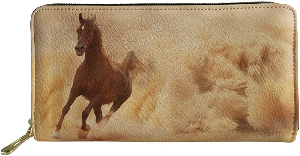 Wallet with coin pocket Horses,Abstract Floral Stallion,Pouch purse case bag