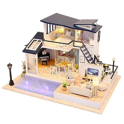 Amazoncom Sacow Diy Wooden Dollhouse Kit 3d Mini House