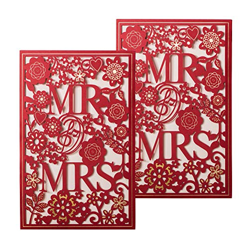 (Gold Fortune 50 Packs Laser Cut Quinceanera Wedding Invitations with Insert Cards Kit and Envelopes for Party Favors (RED MR and MRS))