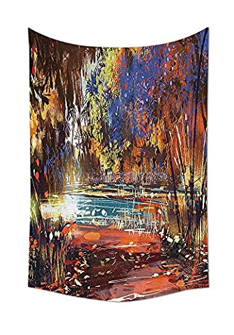 Fantasy Art House Decor Tapestry Refreshing Nature Painting at Serene Pond Illusionary Perspective Swamp Wall Hanging for Bedroom Living Room Dorm (Earth To Earth Swamp Thing)