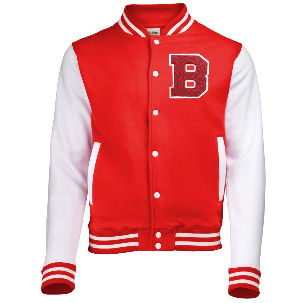 Batch1 Mens Varsity Baseball Jacket Personalised with US College Style Letter 00390-RD-L-$P