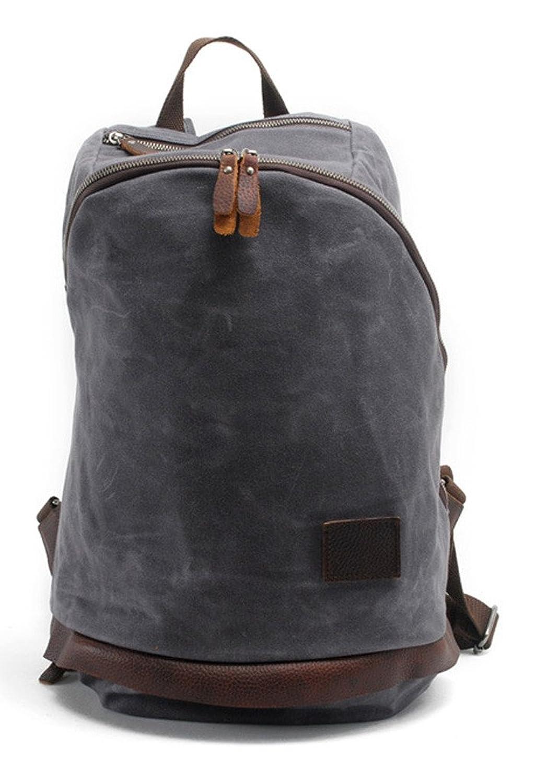 Lixmee Women Unsymmetrical Zip Leather Canvas Backpack