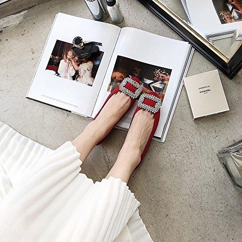 DHG Las Zapatillas de Ballet de Hebilla de Taladro Poco Redondas de Primavera y Verano Trabajan con Zapatos Planos,re,37
