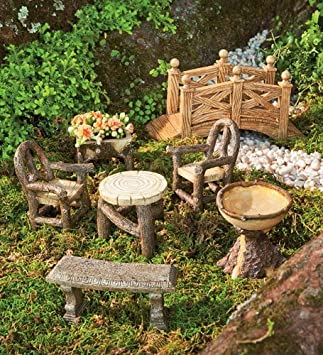 Woodland Fairy Garden Resin Furniture Set. Woodland Fairy Garden Resin Furniture Set  Amazon co uk  Garden