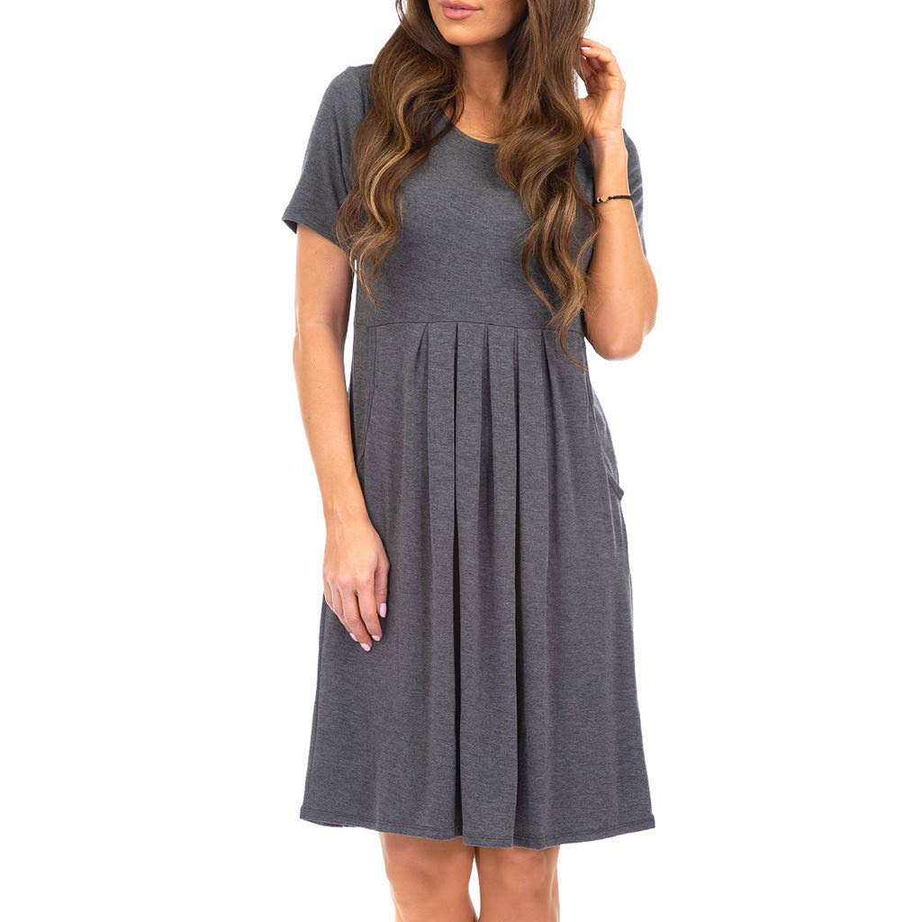 Sttech1 Women Round Neck Solid Color Short Sleeve High Waist Pocket Pleated Loose Dress Gray