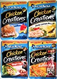 Starkist CHICKEN CREATIONS Ultimate Variety 4 Pack, NEW for 2018! 1 Pack each of CHICKEN SALAD, ZESTY LEMON PEPPER, BUFFALO STYLE, GINGER SOY + FREE pack of silver plastic utensils. 2.6 oz.
