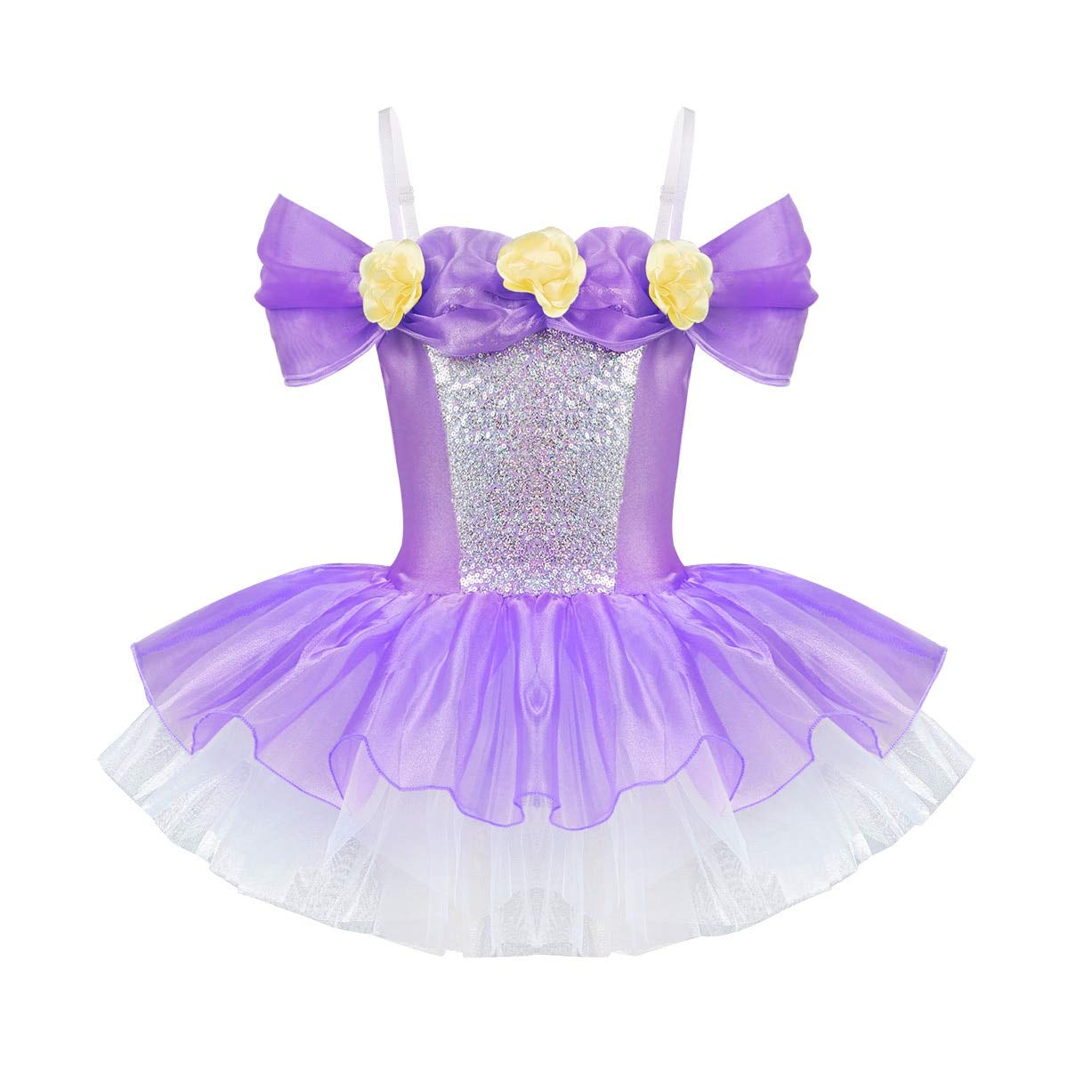 Mink Monk Girls Ballet Leotard Gymnastic Dress Shoulder Straps Off Shoulder 3D Flowers Tutu Ballet Dancewear Gymnastics Leotard Dress