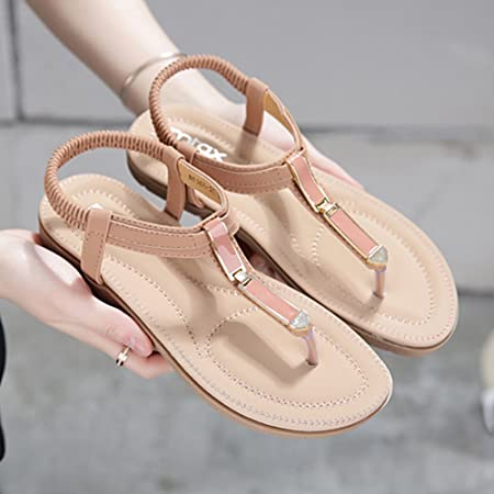 7bcf07d00 HAIZHEN Women shoes Summer Flat Sandals Wear Bead Sandals Fashionable Soft Sandals  Flat Sand Beach Sandals