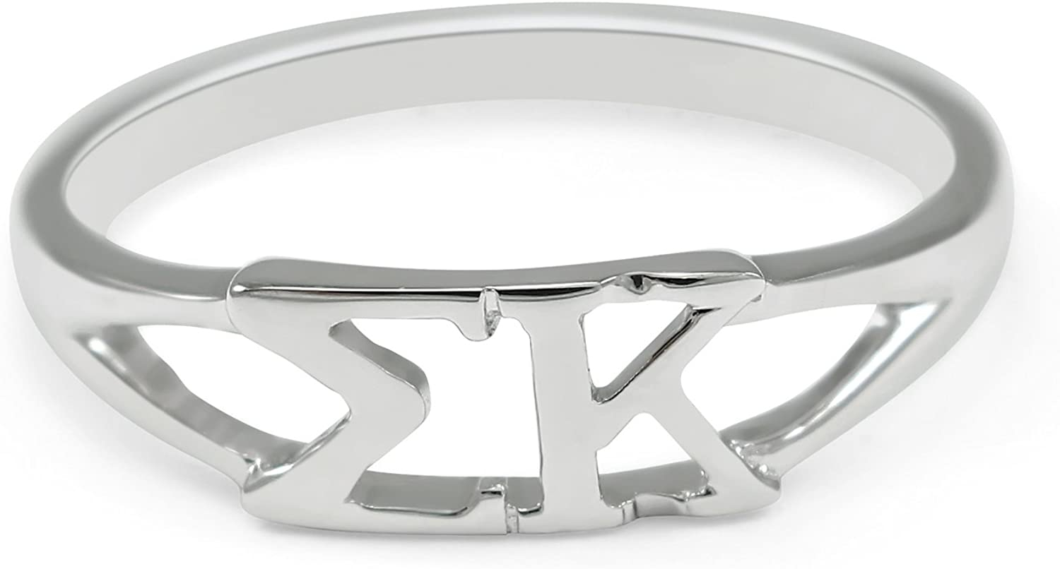 The Collegiate Standard Sterling silver Sigma Kappa Sorority ring with Greek cut-out letters