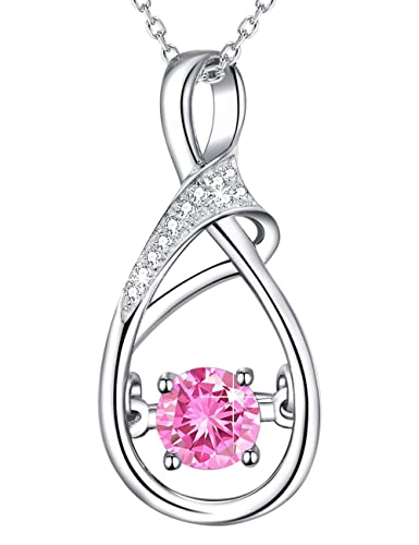 35777fe94 Amazon.com: Necklace Gifts for Mom Sterling Silver Jewelry Pink Tourmaline  Love infinity Pendants Swarovski Necklace Anniversary Birthday Gifts for  Women ...