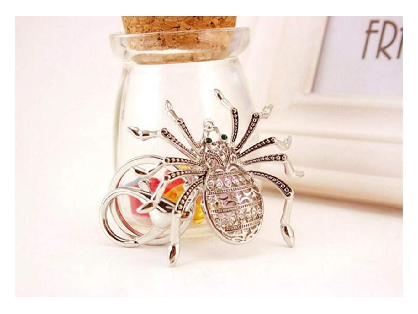 Car Keychain, Exquisite Personality Big Spider Keychain Animal Key Trinket Car Bag Key Holder Decorations(Silver) for Gift by Huasen (Image #3)
