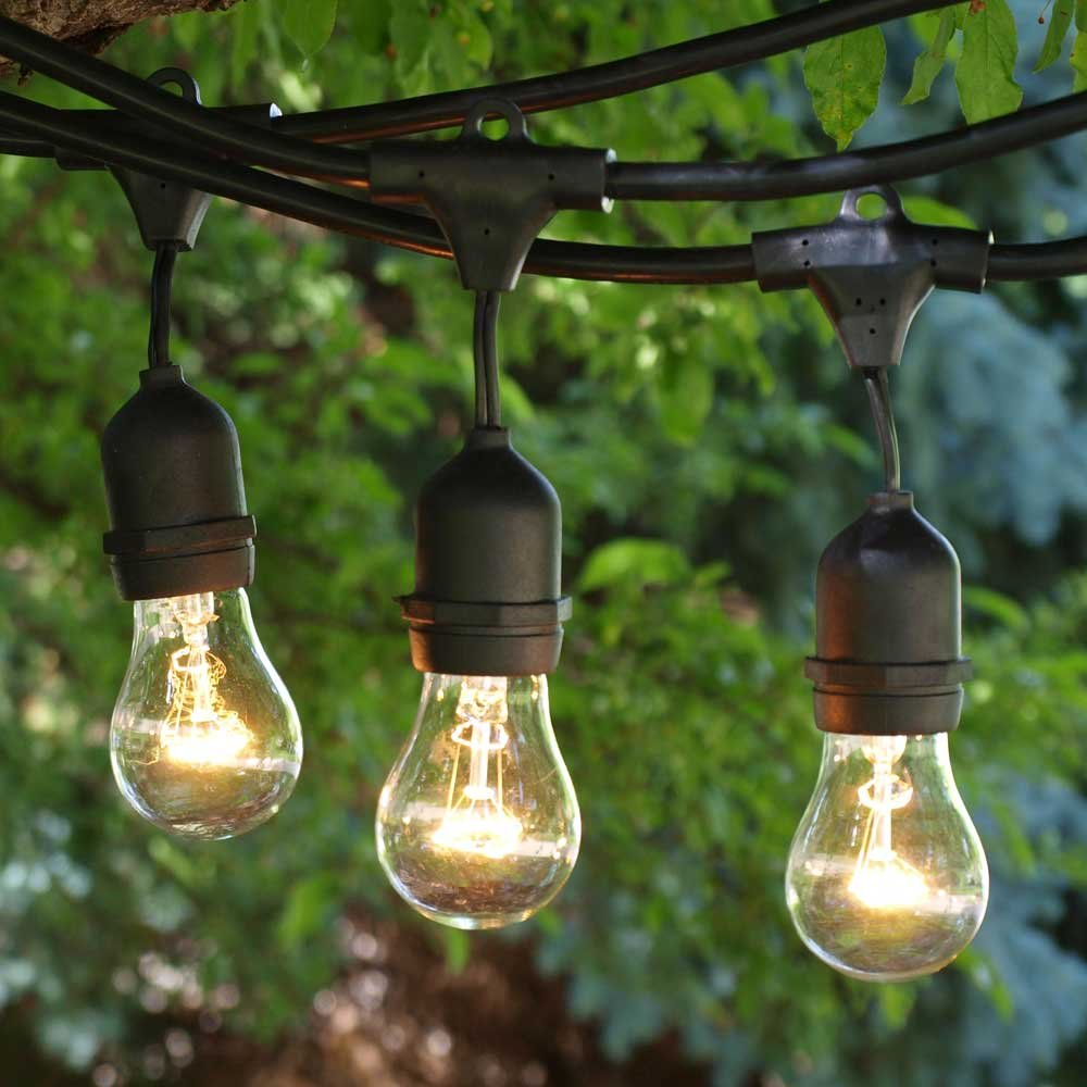 String Lights Outdoor - 48 ft Black Suspended Socket - Clear A15 Bulbs