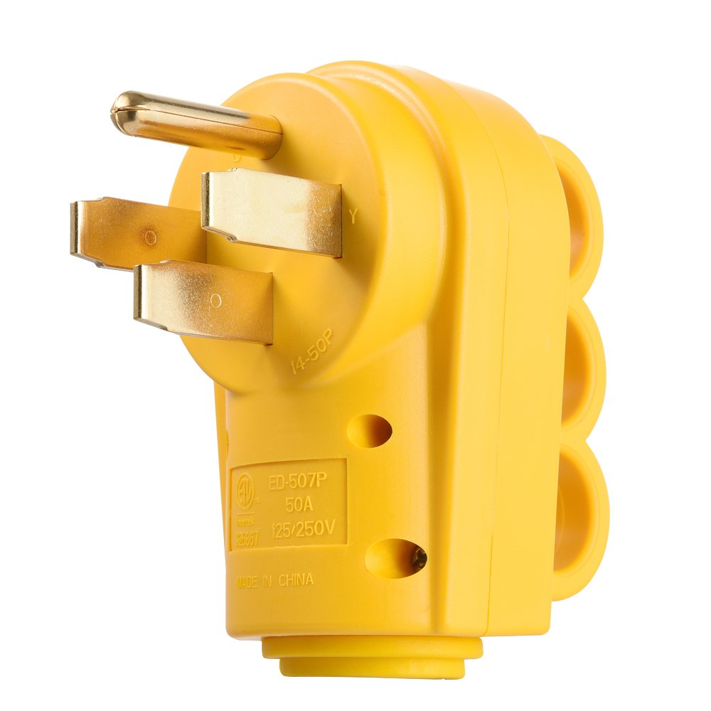 MICTUNING 125 250V 50Amp Heavy Duty RV Replacement Male Plug with Ergonomic Grip Handle Yellow