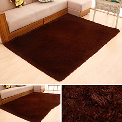 Leoie Ultra Soft Indoor Modern Area Rugs Fluffy Rugs Anti-Skid Water Absorbent Shaggy Area Rug for Children Bedroom Home Decor Nursery Rugs,50X80CM Brown