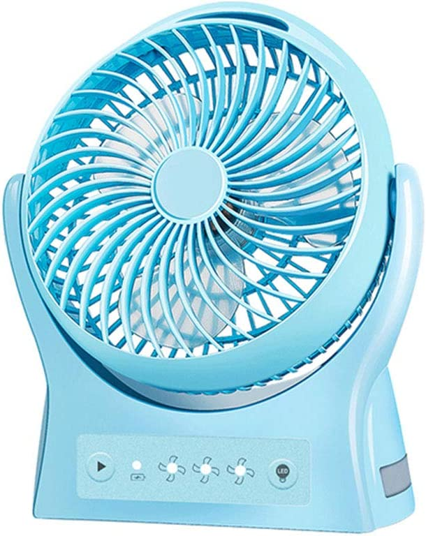 USB Charging Portable Student Dormitory Bed Fan GJF Mini Silent Fan Night Light Home Office Holiday Camping-Blue 3 Speed Wind Adjustable