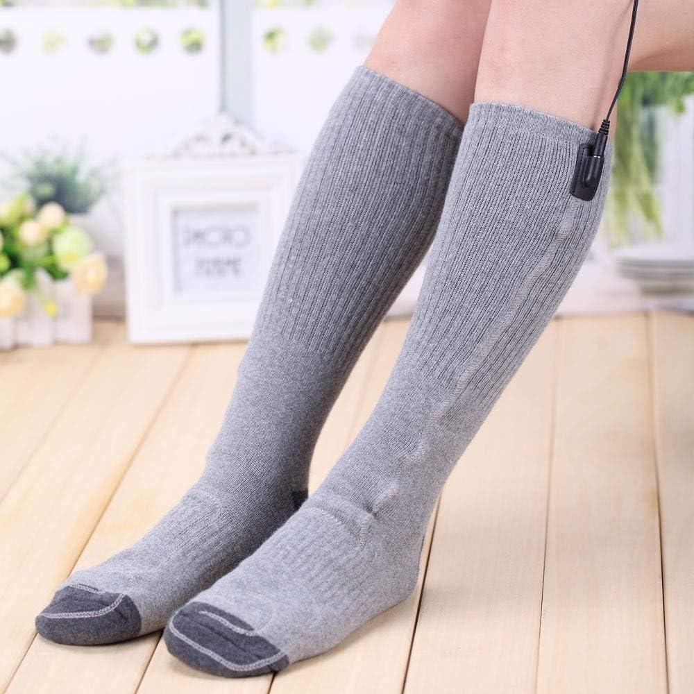 メンズアウトドアスポーツソックス 足を暖かく保つために冬のスキーなどのアウトドア活動グレートに適したUSB電気暖房用ソックス (Color : Gray, Size : 35-45yards)